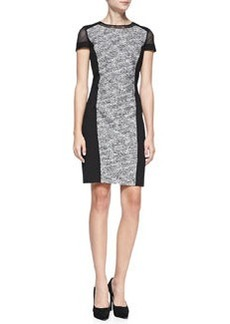 Jaylene Ponte-Panel Tweed Sheath Dress   Jaylene Ponte-Panel Tweed Sheath Dress
