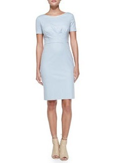 Kathleen Short-Sleeve Diagonal-Pleat Dress   Kathleen Short-Sleeve Diagonal-Pleat Dress
