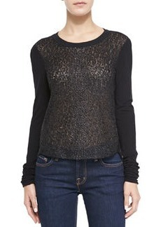 Kenzie Long-Sleeve Snake Foil-Knit Blouse   Kenzie Long-Sleeve Snake Foil-Knit Blouse