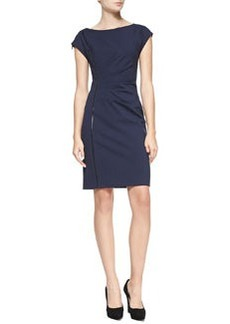 Landi Cap-Sleeve Dress with Faux Leather Detail   Landi Cap-Sleeve Dress with Faux Leather Detail