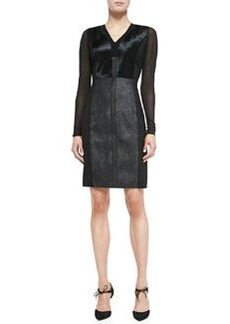 Lane Combo Calf Hair & Leather Sheath Dress   Lane Combo Calf Hair & Leather Sheath Dress