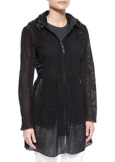 Leslie Hooded Eyelet Jacket, Black   Leslie Hooded Eyelet Jacket, Black