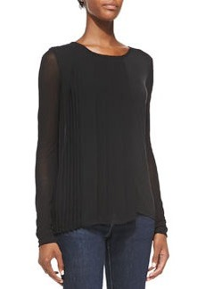 Luca Long-Sleeve Blouse w/ Pleated Side   Luca Long-Sleeve Blouse w/ Pleated Side