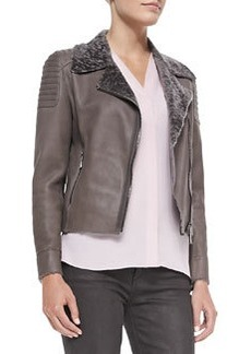 Mae Lambskin Jacket with Fur Collar, Chicory   Mae Lambskin Jacket with Fur Collar, Chicory