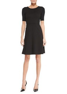 Maria Fit-and-Flare Short-Sleeve Dress, Black   Maria Fit-and-Flare Short-Sleeve Dress, Black