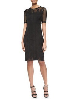 Marianna Short-Sleeve Mesh Dress, Black   Marianna Short-Sleeve Mesh Dress, Black