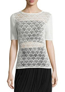 Martine Short-Sleeve Crochet-Front Sweater   Martine Short-Sleeve Crochet-Front Sweater