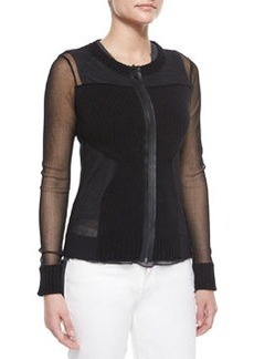 Maura Rib-Trim Sheer Sweater, Black   Maura Rib-Trim Sheer Sweater, Black