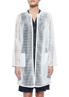 Melody Mesh Long Coat, White Mint   Melody Mesh Long Coat, White Mint