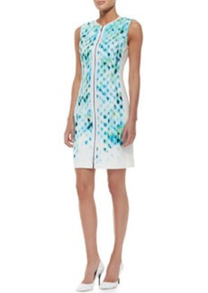 Mila Sleeveless Primavera-Print Cotton Sheath Dress   Mila Sleeveless Primavera-Print Cotton Sheath Dress