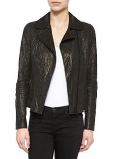 Nancy Snake-Embossed Lambskin Leather Jacket   Nancy Snake-Embossed Lambskin Leather Jacket
