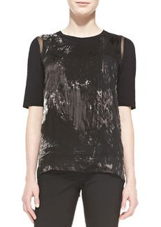 Rachelle Elbow-Sleeve Brushstroke-Print Blouse   Rachelle Elbow-Sleeve Brushstroke-Print Blouse