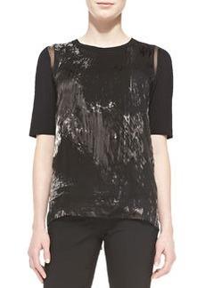 Rachelle Elbow-Sleeve Brushstroke-Print Blouse   Rachelle Elbow-Sleeve Brushstroke-Print Blouse