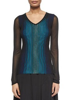 Sidney Ribbed Sheer-Sleeve Sweater   Sidney Ribbed Sheer-Sleeve Sweater