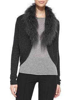 Stassi Lamb Fur-Collar Knit Sweater   Stassi Lamb Fur-Collar Knit Sweater