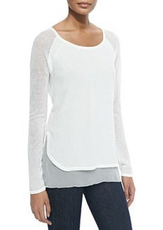 Tipper Sweater W/ Mesh Sleeves, Pearl   Tipper Sweater W/ Mesh Sleeves, Pearl