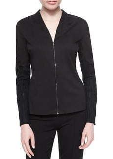 Verna Textured-Sleeve Zip Blouse   Verna Textured-Sleeve Zip Blouse