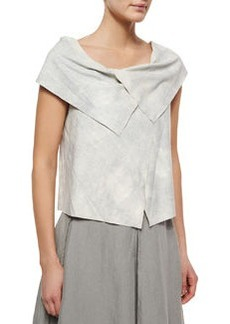 Vita Suede Fold-Over Crop Blouse   Vita Suede Fold-Over Crop Blouse
