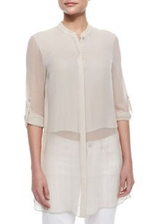 Viviann Silk Sheer Tunic Blouse, Tan   Viviann Silk Sheer Tunic Blouse, Tan