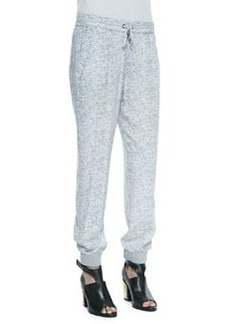 Aveley Melange Print Drawstring Pants, Heather Gray   Aveley Melange Print Drawstring Pants, Heather Gray