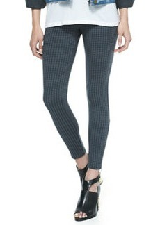 Downtown Houndstooth Zip-Detailed Pants, Gunmetal   Downtown Houndstooth Zip-Detailed Pants, Gunmetal