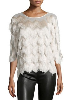 Ella Moss 3/4-Sleeve Round-Neck Fringe Top  3/4-Sleeve Round-Neck Fringe Top