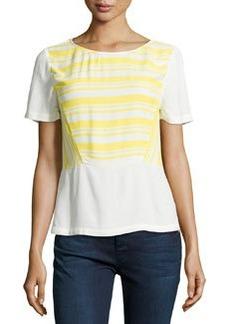 Ella Moss Annika Striped Short-Sleeve Top, Lemon