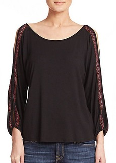 Ella Moss Bella Embroidered Cold-Shoulder Top