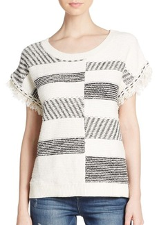 Ella Moss Blanket-Stitched Fringe-Cuff Top