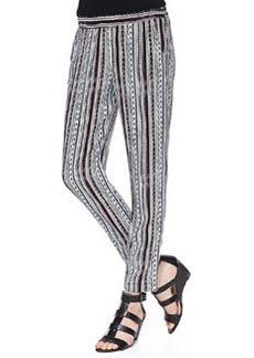Ella Moss Bondi Sequoia-Print Striped Pants