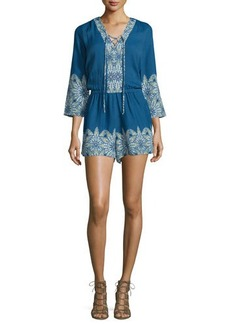 Ella Moss Caprice 3/4-Sleeve Embroidered Romper