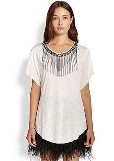 Ella Moss Chandelier Beaded Chain-Fringe Tee