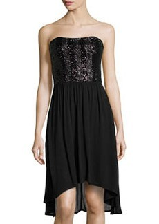 Ella Moss Crepe Sequined-Bodice High-Low Dress, Black