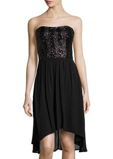 Ella Moss Crepe Sequined-Bodice High-Low Dress
