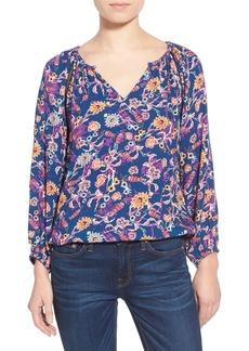 Ella Moss 'Dolce' Floral Print Split Neck Top