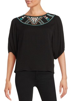 ELLA MOSS Embroidered Crepe Top