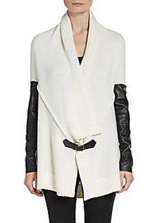 Ella Moss Faux Leather Paneled Cardigan
