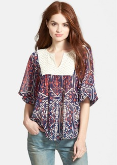 Ella Moss 'Flora Vista' Yoke Panel Split Front Blouse