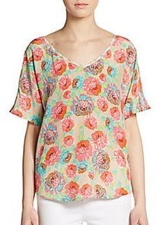 Ella Moss Floral-Print Silk Top