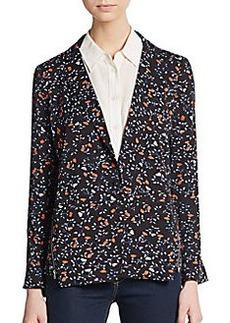 Ella Moss Floral Print Zip-Detailed Blazer