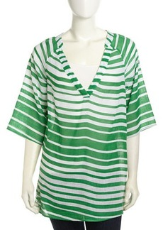 Ella Moss Half-Sleeve Striped Voile Tunic