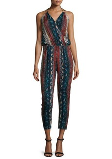 Ella Moss Halter-Neck Snake-Print Jumpsuit