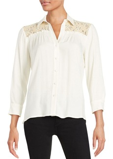 ELLA MOSS Lace-Accented Button-Front Top