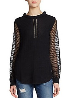 Ella Moss Lace Sleeve Knit Pullover