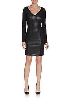 Ella Moss Laser Cut Faux-Leather Paneled Jersey Dress