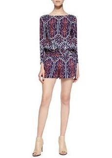 Ella Moss Long-Sleeve Jumpsuit W/ Flora Vista Print