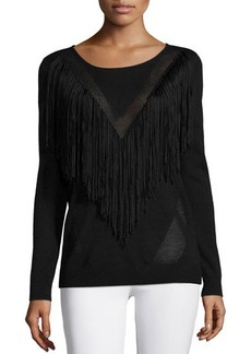 Ella Moss Long-Sleeve Top W/Fringe Detail