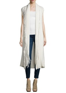 Ella Moss Maria Sleeveless Long Cardigan Sweater W/Fringe