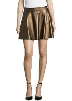 Ella Moss Metallic Faux-Leather Circle Skirt, Bronze