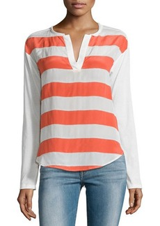 Ella Moss Millie Striped Split-Neck Tee